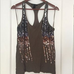 Mango brown racerback tank with gold/navy sequins